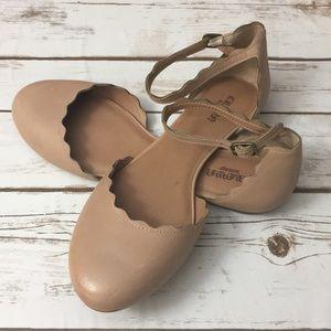 Crown Vintage Nude Ballet Ankle Strap Shoes